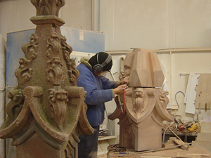 Carving finial from original sample